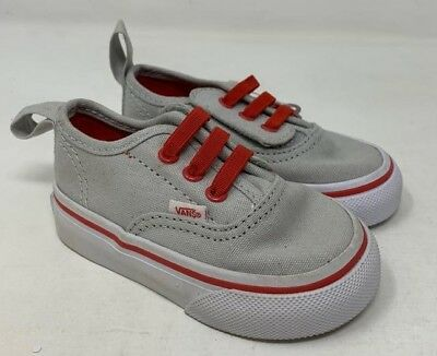 Vans Infant Athletic Skate Sneakers Grey Red Shoe Lace Boys Size 4.5 New Wob