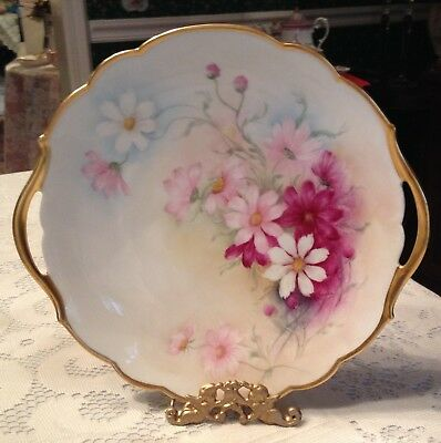 Limoges Red Pink White Floral Cake Plate