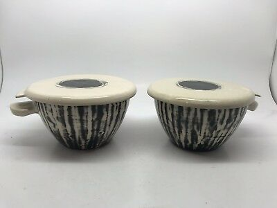 A Pair Of Eric Leaper Studio Pottery Bowls With Lids