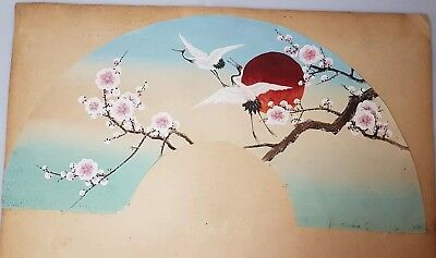 An Original ink & Colour Meiji period Kyoto Fan Painting. Red capped Cranes