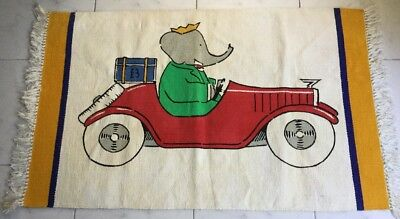 Vintage Babar Rug, Made In France, Classic Kids Room Charm