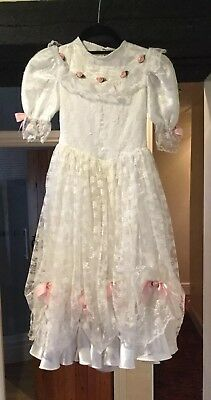 Girl'S Vintage 1980'S Victorian Style White Lace Bridesmaid Dress