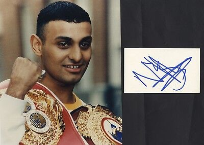 Prince Naseem Hamed - World Boxing Champion - In Person Signed White Card.