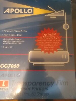 Apollo Laser Jet Printer Copier Transparency Film 50 Sheets CG7060 8.5 x 11 NEW