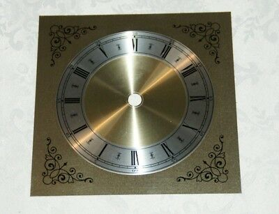 "Replacement 4.75"" (6"" Square) Gilt Clock Face/Dial - Aluminium"