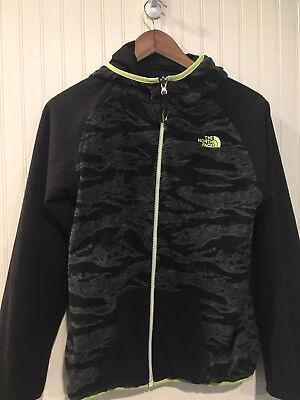 NORTH boys  jacket 14/16 Reversible Fleece Nylon Black Grey Green
