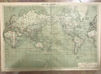 PLANISPHERE by PHILIP XIXe CENTURY LARGE ANTIQUE ENGRAVED CHART IN COLORS