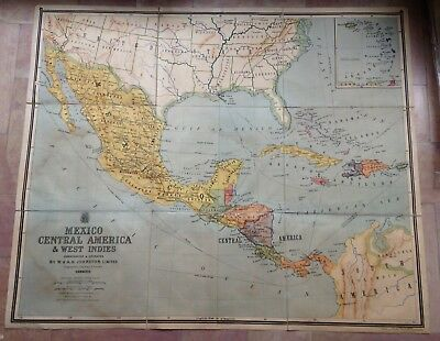 MEXICO CENTRAL AMERICA WEST INDIES JOHNSTON 1ST PART XXe CENTURY LARGE WALL MAP