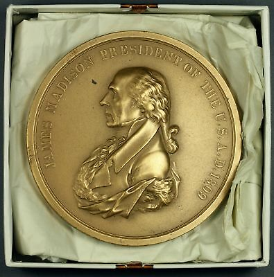 """3""""   Bronze  JAMES MADISON  Presidential Indian PEACE MEDAL  Paperweight"""