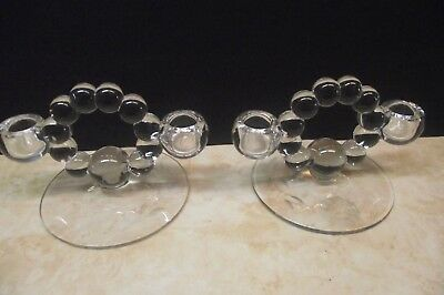 Vtg. Pair Clear Bubble Glass Double Candle Holders Cornflower Pattern On Base