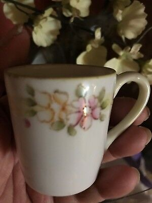 Antique Nippon Demi Cup Hand Painted Pink Roses