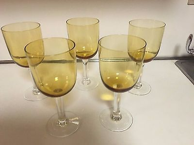 "Amber Color Bowl  Wine Glasses With Thick Clear Stem  - 8"" Tall -  5 Total"