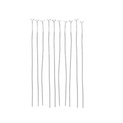 Jewellery Making Disc-Head Pins in Nickel-Free 925 Sterling Silver, 50mm