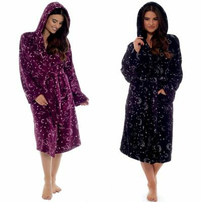 Women Ladies Girl Moon Star Fleece Dressing Gown Magical Bath Robe Gazing Potter