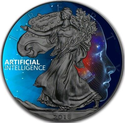 2018 1 Oz $1 ARTIFICIAL INTELLIGENCE EAGLE Ruthenium Coin.
