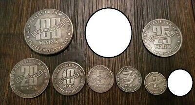 Complete set WW2 WWII German 1 to 100 Mark Jewish Getto Ghetto coins 1943