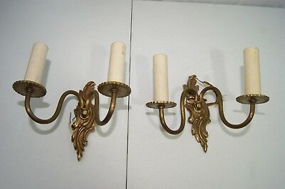 Vintage Pair of Brass Wall Sconces 2 Arm Electric Candle Holders Antique Lights