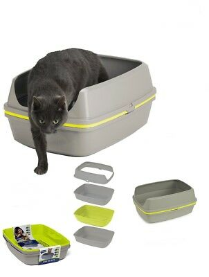Cat Grey Scoopless Litter Tray Sifting Toilet Box High Sided
