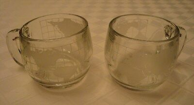 2 NESTLE NESCAFE Vintage 1970's Etched Glass World Globe Coffee Mugs Cups
