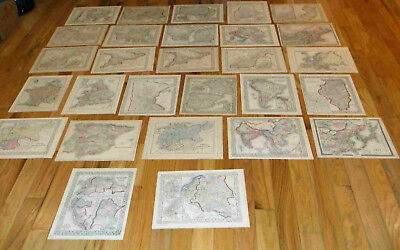 28 ANTIQUE MAPS (genuine)  WHOLESALE LOT - Hand Colored, Dates From 1825 to 1884