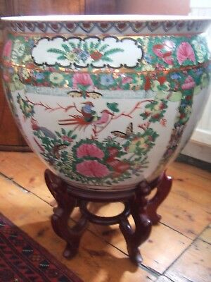 Stunning Large Chinese Porcelain Goldfish Bowl/ Jardinere On Carved Wooden Stand
