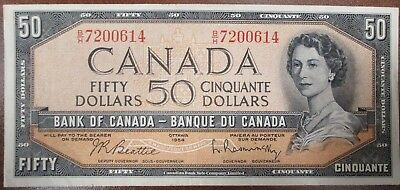 Bank Of Canada 1954 $50 Banknote Signed Beattie/raminsky