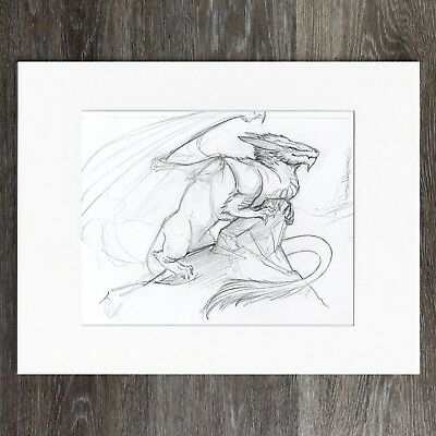 Dragon Sitting on Cliff Side - Original Pencil Drawing - 9 x 12 inches