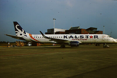 Aircraft Slide Original Dia Kalstar Aviation EMB 190  EI-GEG Maastrich   (63)