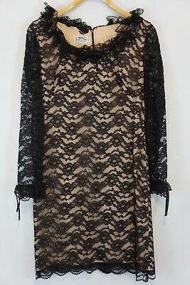 Jan Sue of California Size 6 Vintage Black Lace dress long sleeve LBD Cocktail