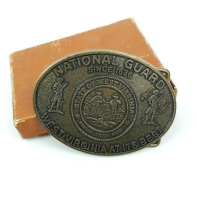Vintage West Virginia National Guard Brass Belt Buckle 1636 State Seal Army Air