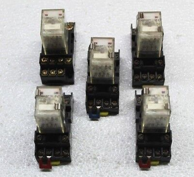 Lot Of 5!! Omron My4N 24Vdc 5A Relay With Holder