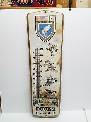 """Vintage Metal Support Ducks Unlimited 24"""" Thermometer Working RARE"""