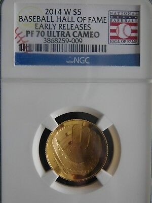 2014-W Baseball Hall of Fame  $5 Gold   N.G.C.. PR 70 Ultra Cameo E.R.