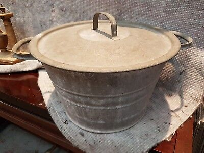 Antique Stock Pot Cooking Pot Couldron With Handles & lid Barn Find