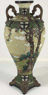 Antique Nippon Moriage Landscape Scenic Hand Painted Vase Coat Of Arms Templar