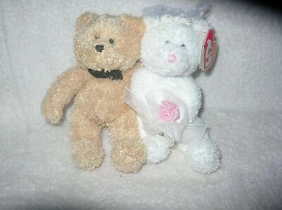 TY Beanie Babies, BLISSFUL the Wedding Bears (set of 2) (6.5 inch)