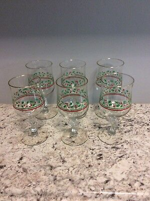 6 Arbys Christmas Holly Berry Wine Goblets Glasses Libbey Bow on Stem 1980's