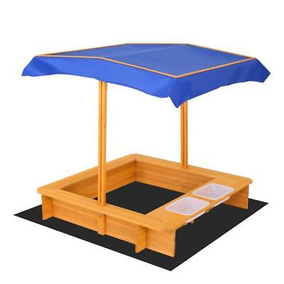 Kids Sandpit Outdoor Wooden Sandbox Canopy Bench Play Toy Sand Pit Water Bowl