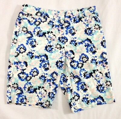 Talbots 4 Shorts Blue White Floral Flat Front Cotton Stretch Walking Chinos