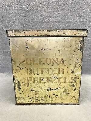 Rare Primative Cleona Butter Pretzel Display Case Tin General Store Stuber Kuck