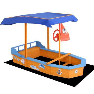 Ship Boat Wheel Kids Sand Pit Wooden Outdoor Play Set Canopy Toy Children
