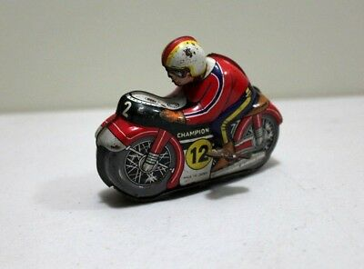 Vintage 1950 /60s Champion 12 Motorcycle bike racer  Tin Toy , Made in Japan