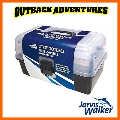 Jarvis Walker 3 Tray 500 Piece Tackle Box Includes Fillet Knife