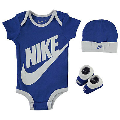Nike Romper Hat & Booties 3 Piece Set Baby Boys Blue White Size 0-6 Months New