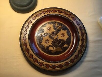 Collectors inlaid wooden plate from Poland hand crafted Edelweiss vintage
