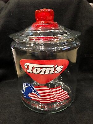 "Tom's Jar Great American Snacks Peanut  With / Lid  7 1/2 "" High With Box"