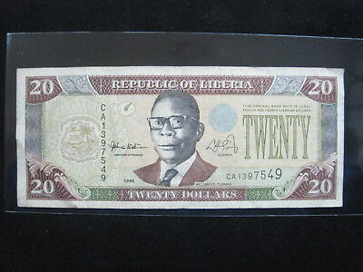 Liberia $20 Dollars 1999 P23 52# Bank Currency Money Banknote