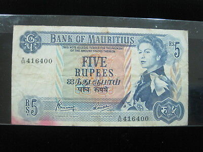 Mauritius 5 Rupees 1967 P30 962# Bank Currency Money Banknote