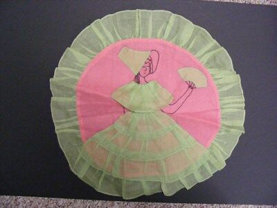 ATQ 1920s 30's Embroidered Pink & Green LADY Organdy Boudoir Pillow Cover UNUSED