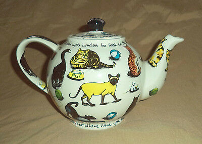 Paul Cardew Design Kit-tea Ceramic Teapot Kitty Cat Cats Playing Eating 36 oz+